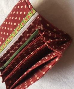 Portemonnaie Leder Stoff rot Geldbörse Piron-Art