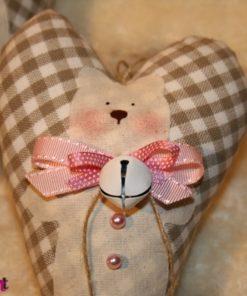 Herz mit Teddy braun beige Vichystoff Dekoration Piron-Art