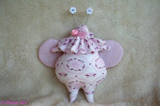 Käfer weiß-rosa-lila Dekoration Piron-Art