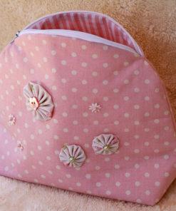 Täschchen rosa weißen Pünktchen Kosmetiktäschchen Piron-Art