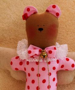 Teddy-Engel rosa rote Pünktchen Taufe Einschulung Geburt Geschenk Piron-Art